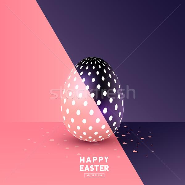 Easter egg soyut dizayn parti yumurta imzalamak Stok fotoğraf © solarseven