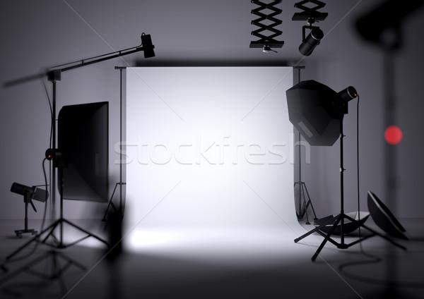 Vuota foto studio fotografia apparecchi di illuminazione illustrazione 3d Foto d'archivio © solarseven