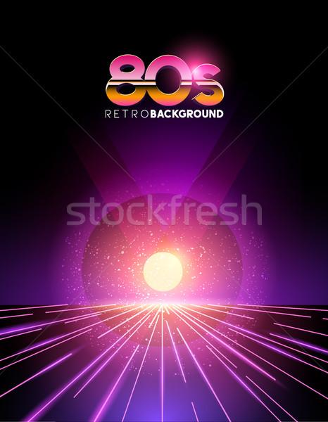 Retro 80-as évek 1980-as évek stílus neon digitális Stock fotó © solarseven