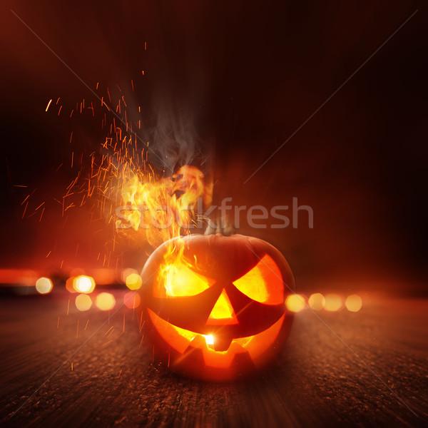 Stockfoto: Halloween · nacht · scary · lantaarn · omhoog