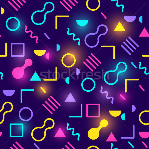 Neon Glowing Retro Seamless Pattern Stock photo © solarseven