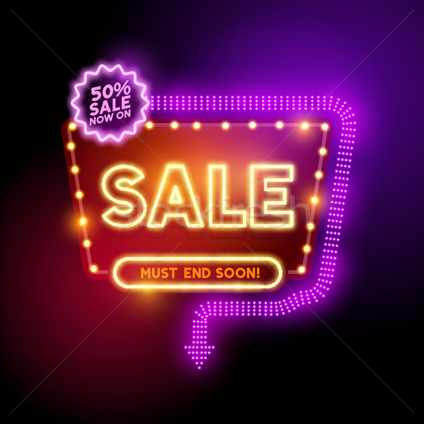 Glowing Neon Sale Sign Stock photo © solarseven