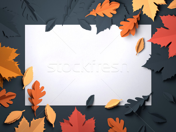 Stock photo: Paper Art - Autumn Fall Leaves Background