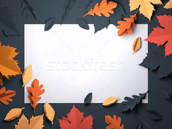 Papier kunst najaar vallen bladeren gevouwen Stockfoto © solarseven