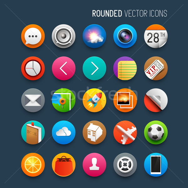 Rounded Vector Icons Set Stock photo © solarseven