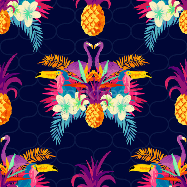 Vivid Tropical Seamless Pattern Stock photo © solarseven