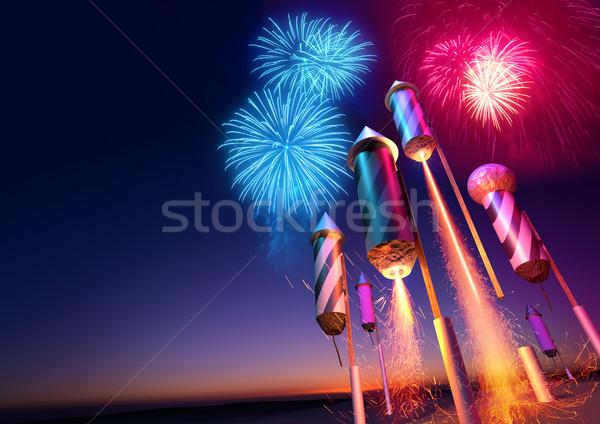 Céu noturno fogos de artifício evento ilustração 3d festa Foto stock © solarseven