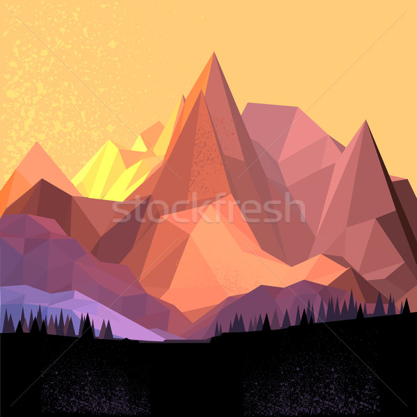 Low Poly Vector Mountain Stock photo © solarseven