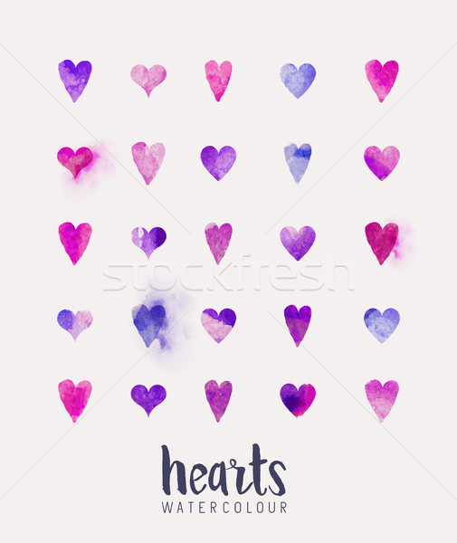 watercolour Heart Collection Stock photo © solarseven