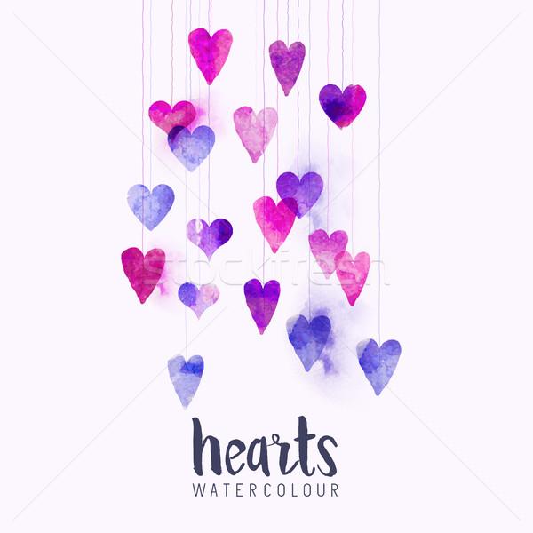 акварель любви сердцах набор свадьба дизайна Сток-фото © solarseven