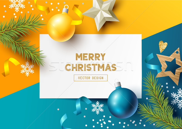 Merry Christmas Composition with fir branches Stock photo © solarseven