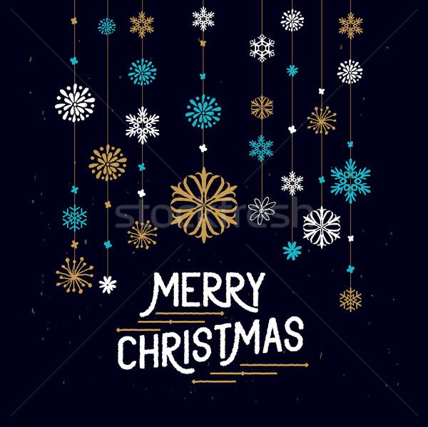 Allegro Natale decorazioni impiccagione fiocchi di neve segno Foto d'archivio © solarseven