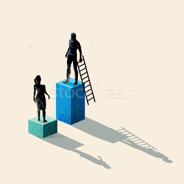 Geslacht man vrouwen hoogte business gelijk Stockfoto © solarseven