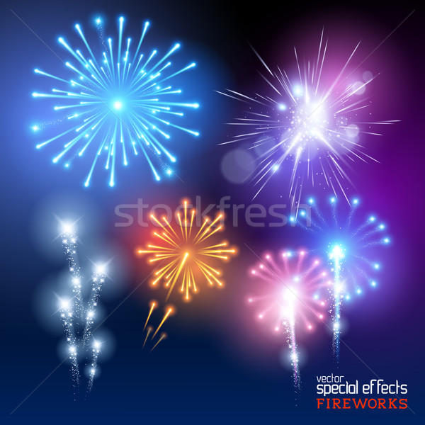 ベクトル 花火 コレクション セット 表示 ストックフォト © solarseven