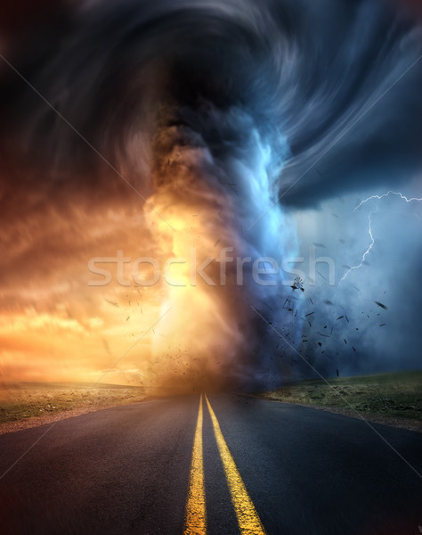 A Powerful Tornado At Sunset Stock photo © solarseven