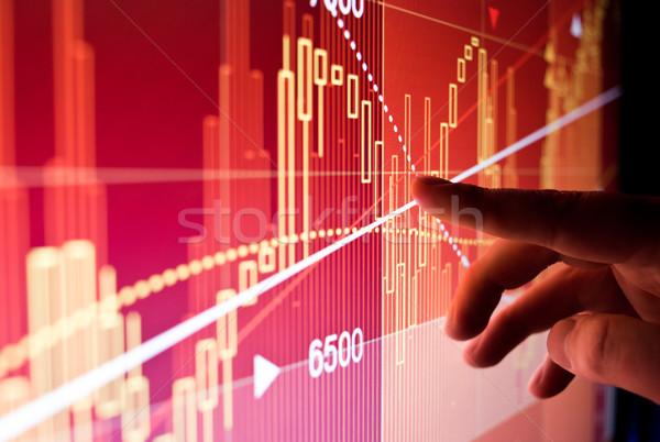 Pénzügyi tőzsde adat város munkás illusztrált Stock fotó © solarseven
