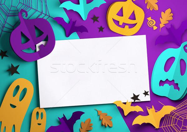 Papír művészet ijesztő halloween összehajtva origami Stock fotó © solarseven