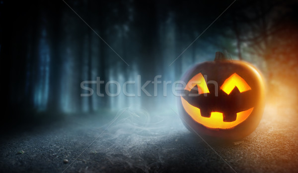 Misty Halloween Evening Background With A Pumpkin  Stock photo © solarseven