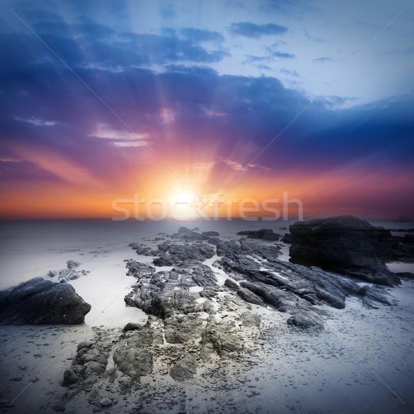Vară coastă soare mare apus natură Imagine de stoc © solarseven