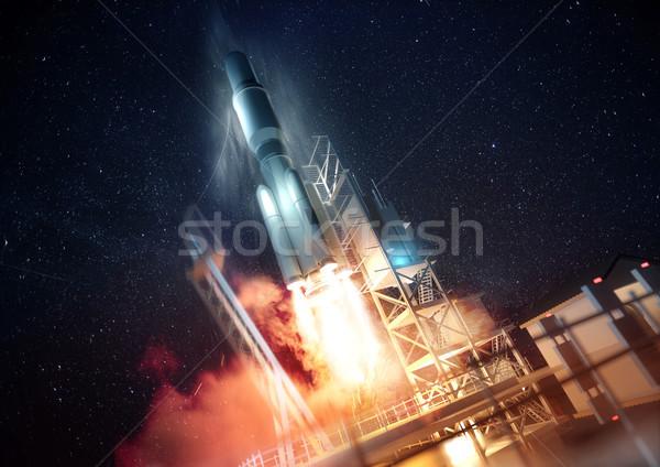 Stok fotoğraf: Roket · uzay · büyük · ticari · gece · 3d · illustration