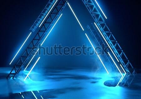 Futurisztikus színpad kék világítás izzó neon Stock fotó © solarseven
