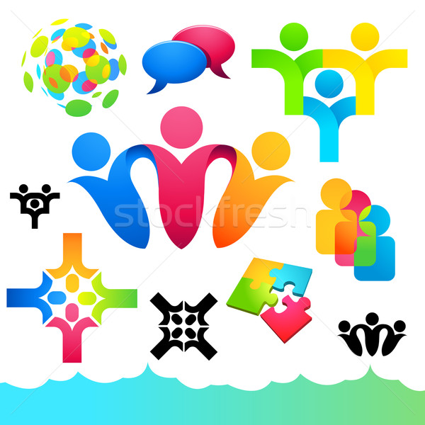 Social People Icons and Elements Stock photo © solarseven
