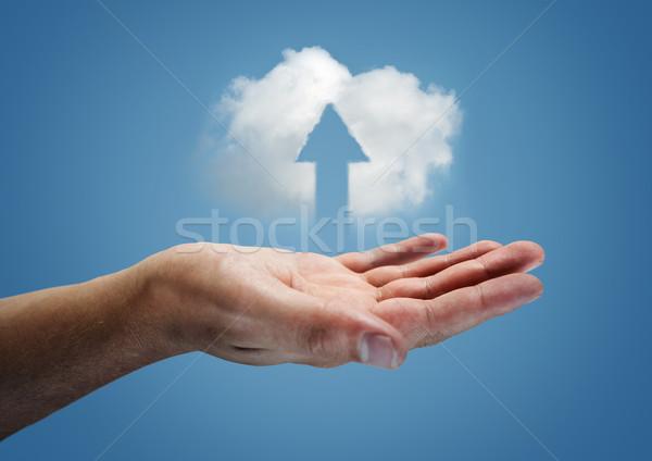 Wolk omhoog zweven hand computer server Stockfoto © solarseven
