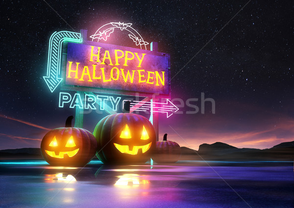 Halloween Party Neon Sign Stock photo © solarseven