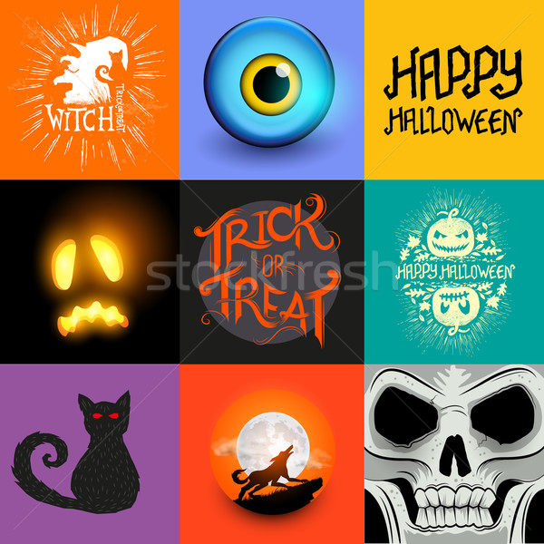 Stockfoto: Vector · halloween · collectie · ingesteld · symbolen