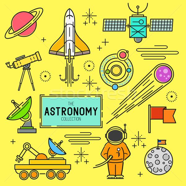 Astronomia wektora kolekcja przestrzeni line Zdjęcia stock © solarseven