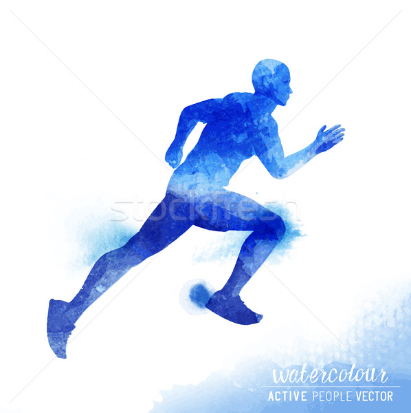 Watercolour Running Man Vector Stock photo © solarseven