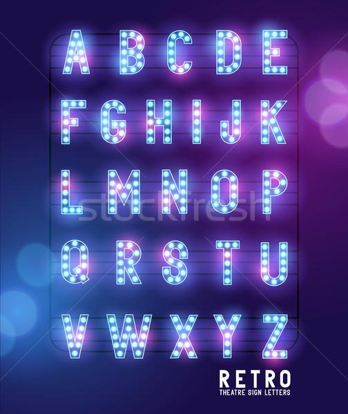 Retro Lightbulb Theatre Letters Stock photo © solarseven
