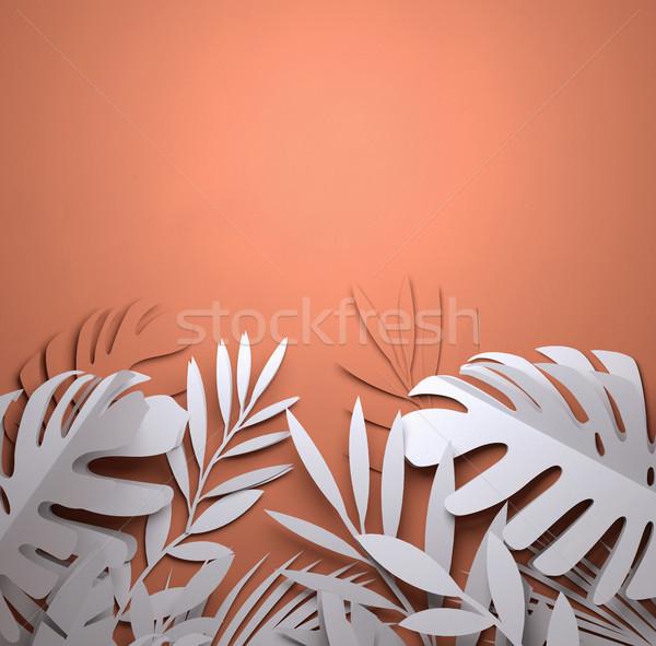 Paper Art - Summer Palm Leaves Stock photo © solarseven
