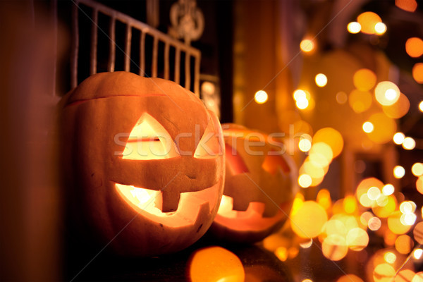 Halloween Pumpkins with sparkling lights Stock photo © solarseven