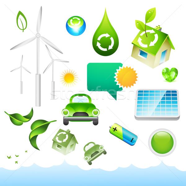 Groene energie communie collectie milieu business huis Stockfoto © solarseven