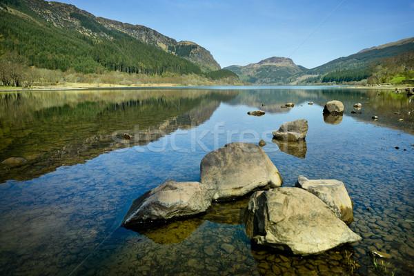 озеро пейзаж Шотландии Размышления фон Сток-фото © solarseven