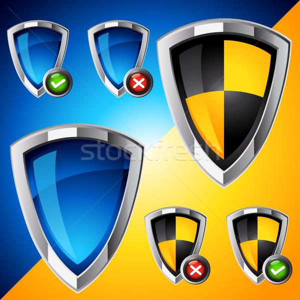 Stockfoto: Internet · veiligheid · schild · ingesteld · staal · schone