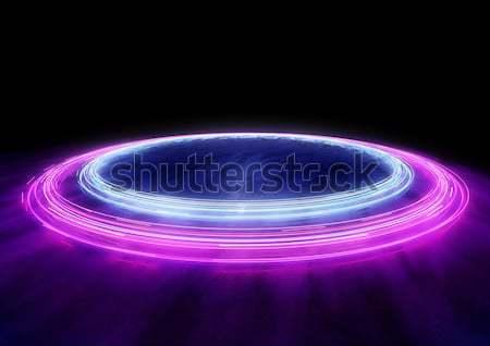 Stockfoto: Neon · auto · licht · cirkels · 3d · illustration · internet