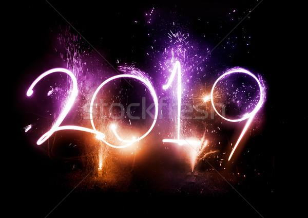 Feux d'artifice fête nouvelle année écran happy new year fond Photo stock © solarseven