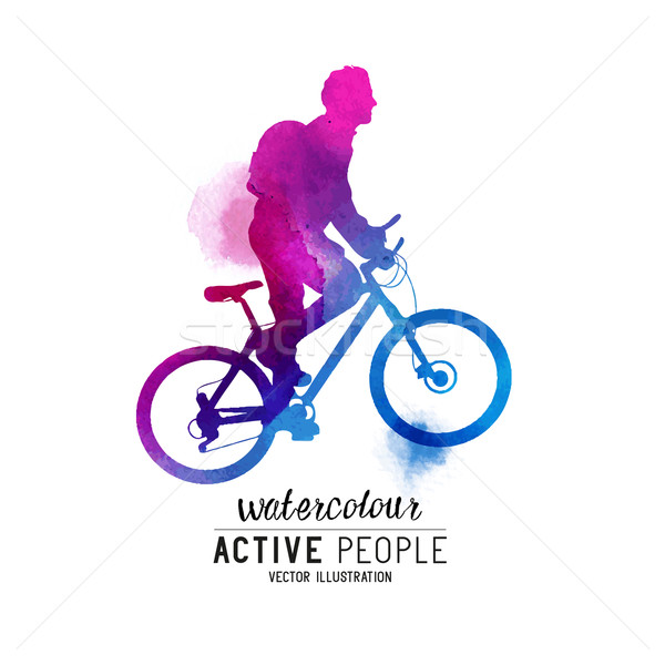 Stock photo: Watercolour Man Riding A Bike