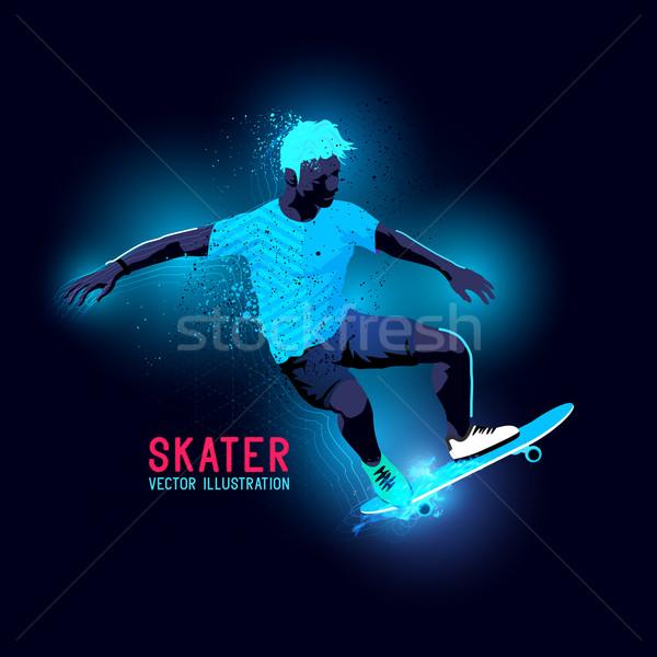Neon Skater Vector Stock photo © solarseven