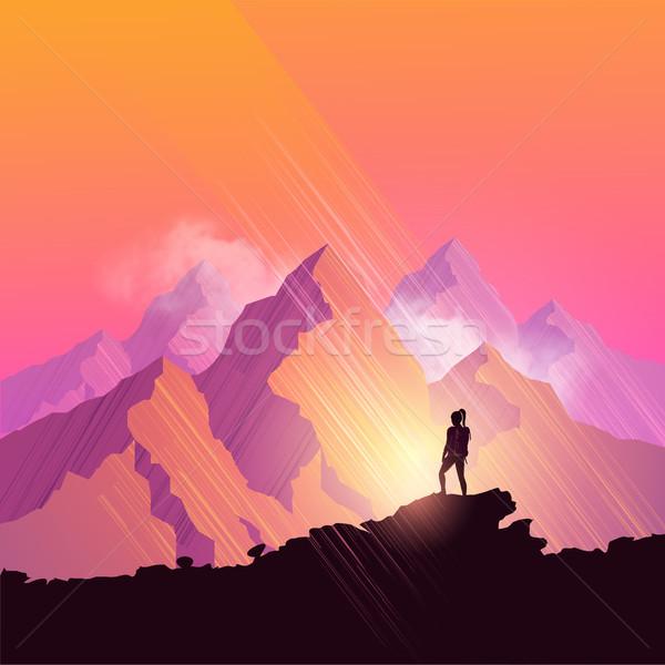 Montanha mulher caminhadas cênico caminho admirar Foto stock © solarseven