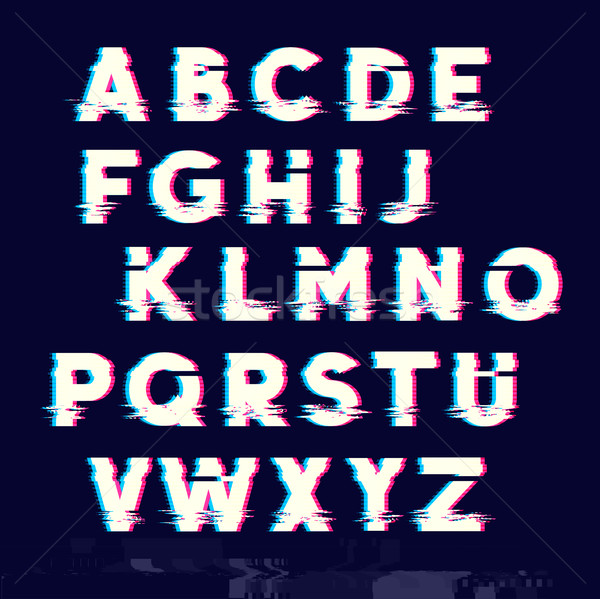 Glitch displacement type letters with fault line Stock photo © solarseven