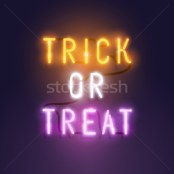 Stock foto: Hellen · neon · Halloween · Briefe · Dekoration · Streich
