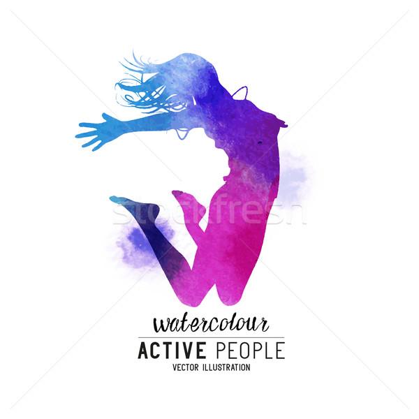 Watercolour Jumping Women Vector Stock photo © solarseven