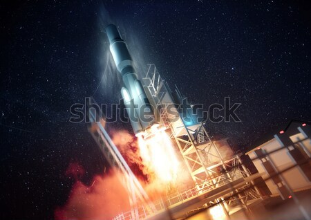 Space Rocket on Launch Platform Stock photo © solarseven