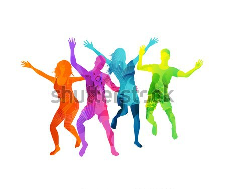 Watercolour Jumping Friends In Summer Vector Stock photo © solarseven