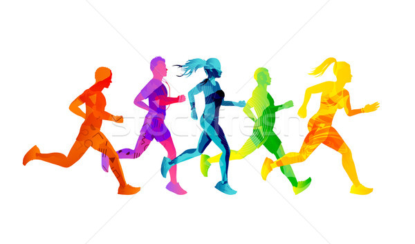 A Group of Running Men And Women Stock photo © solarseven