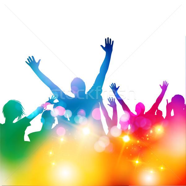 Partij menigte dans gelukkig ontwerp metaal Stockfoto © solarseven