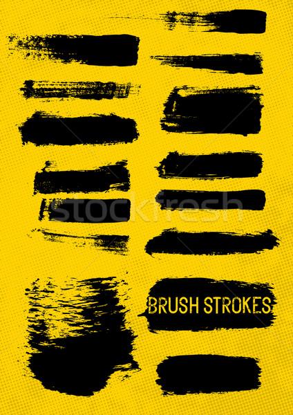 Fekete vektor ecsetvonások kéz festett ecset Stock fotó © solarseven